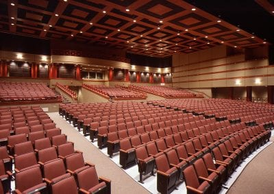 interior theater red seats architecture
