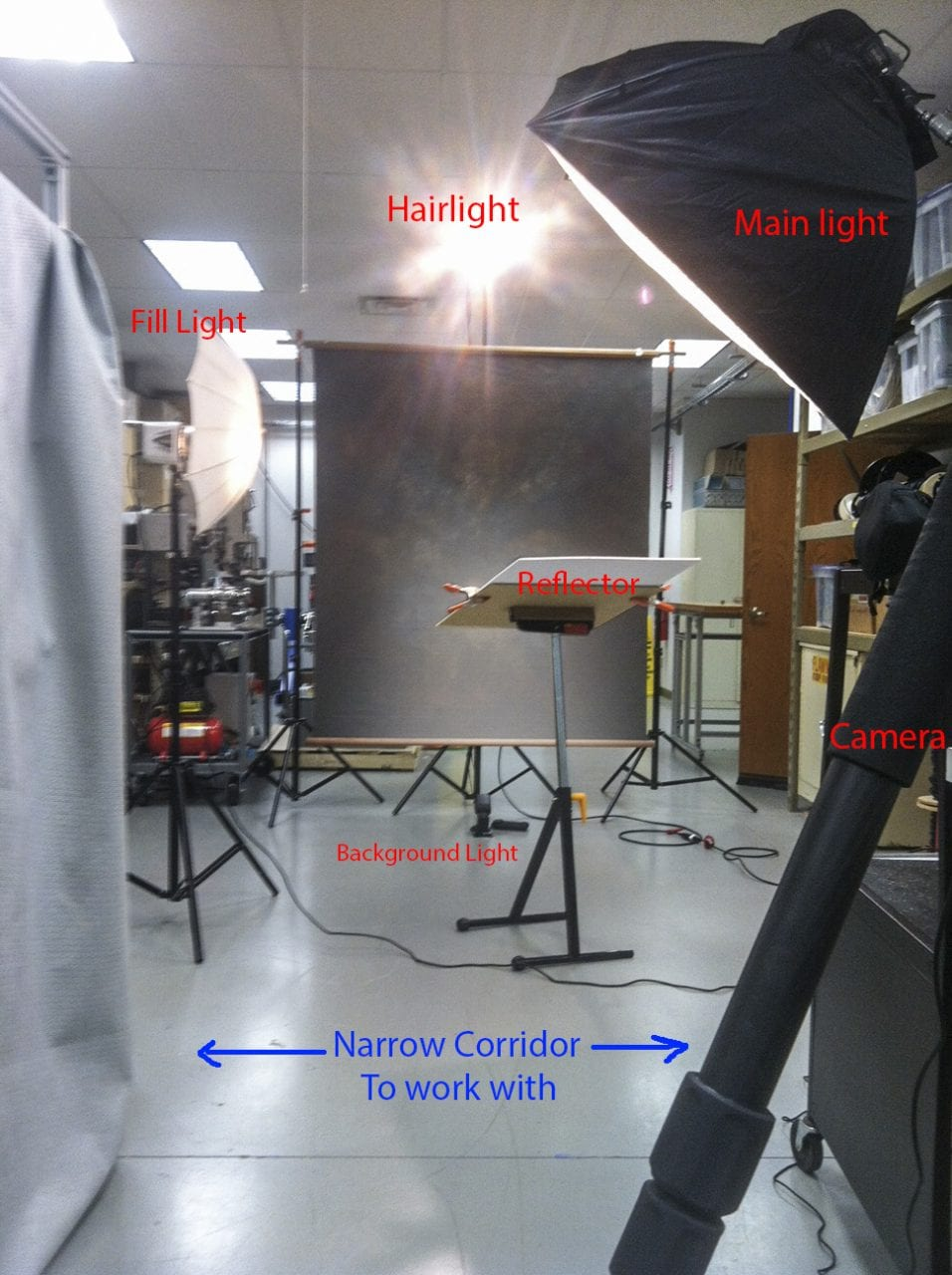 lighting setup in confined space for business portraits