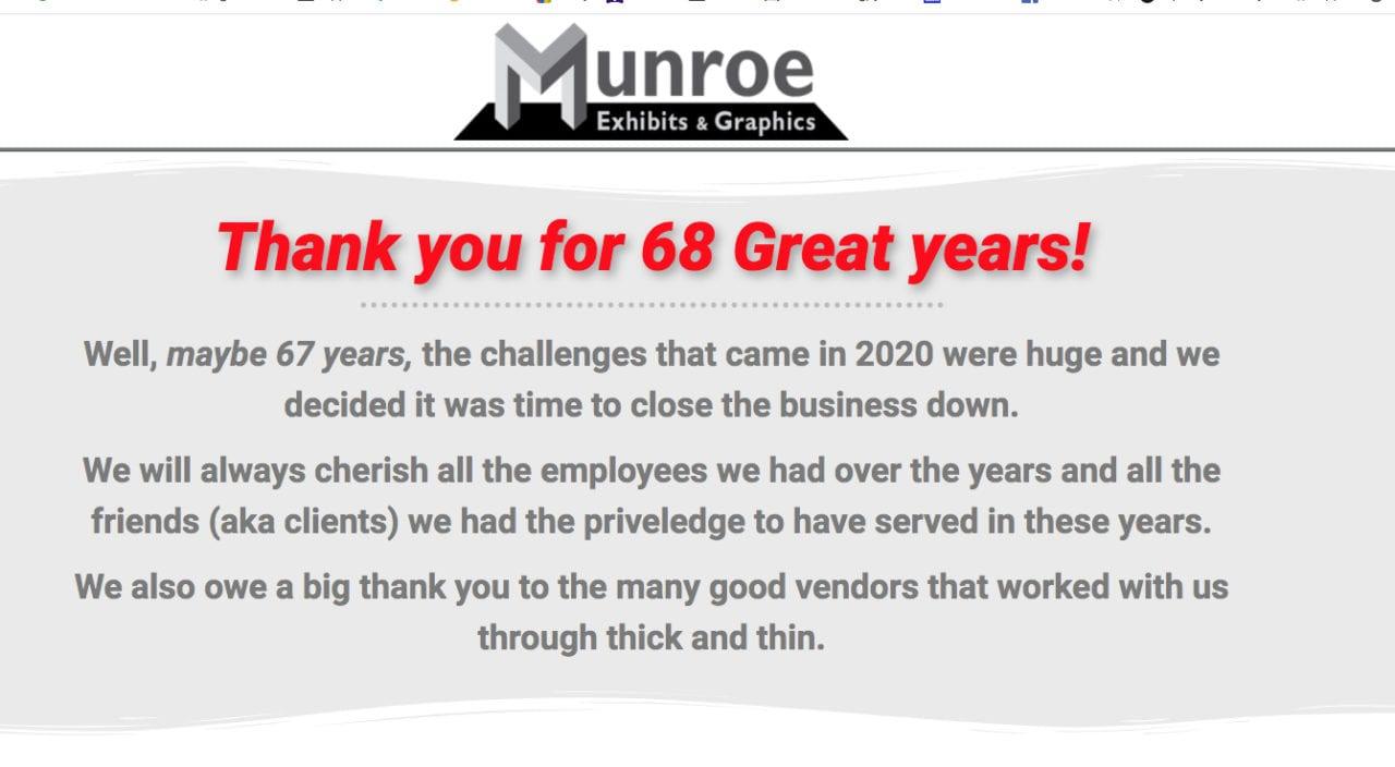 Munroe Studio's farewell web page