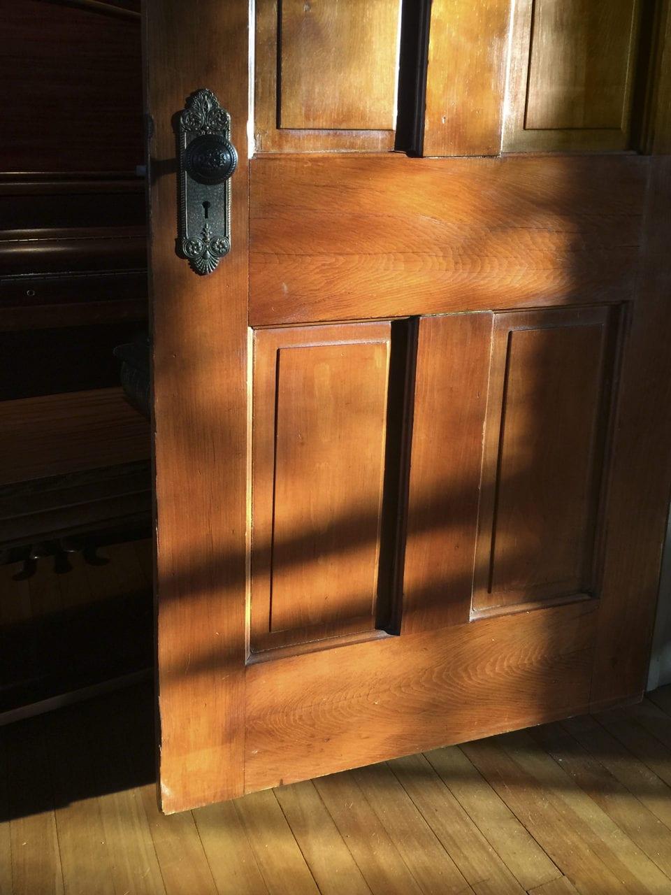 winter light on wood door