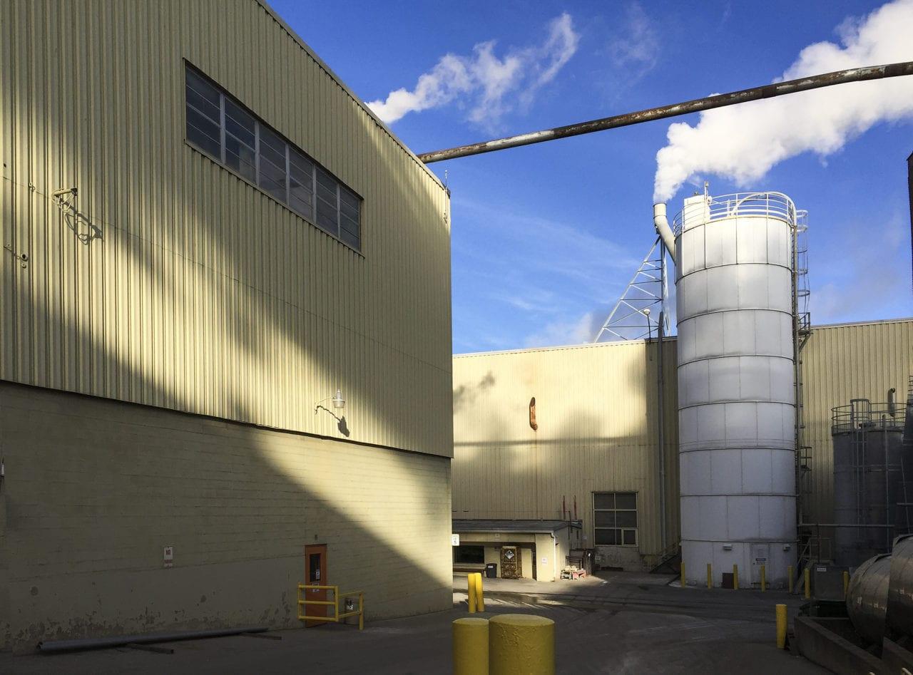 factory parking lot in December