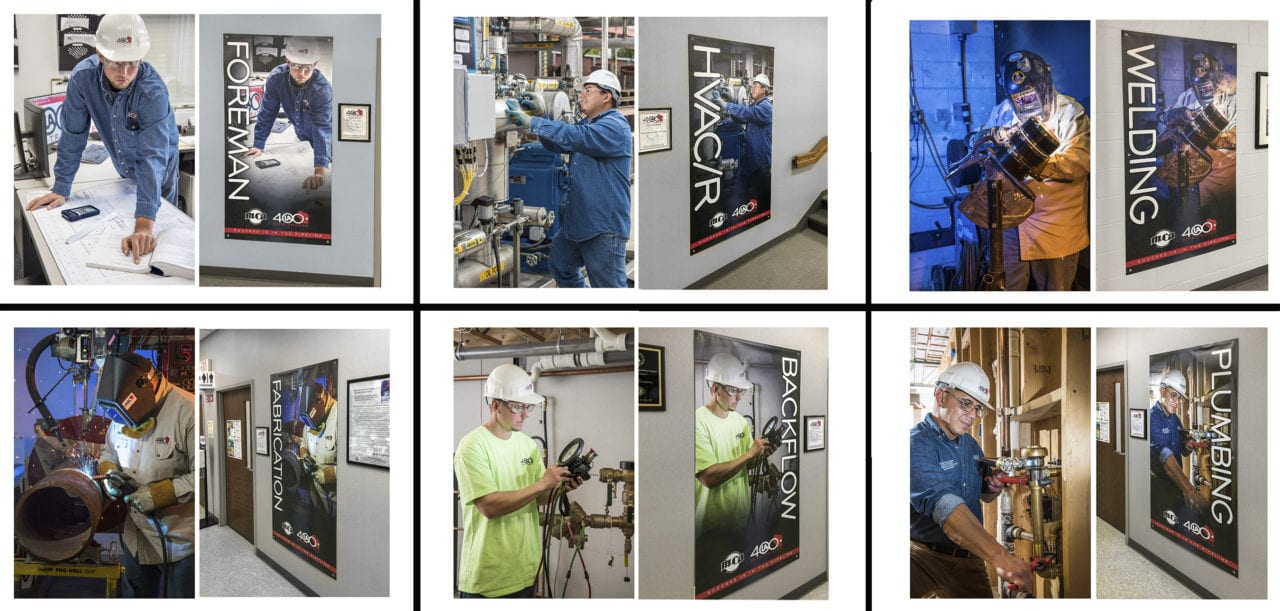 UA 400 industrial photography made into facility wall hangings