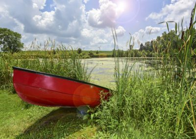 red boat in green water with blue sky